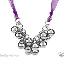 Beaded Cluster Necklace with Adjustable Ribbon Stainless Steel QVC J271344