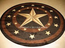 "5' Round (5'3"") Texas Lone Star Rustic Cowboy  Western Area Rug *FREE SHIPPING*"