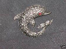 Dolphin Marcasite Rhinestone Jewelry Pin Brooch New!