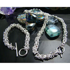 925Sterling Silver Jewelry Dragon Head T-O Women Men Necklace Bracelet Set S049