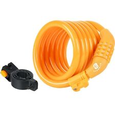 Etronic ® Security Lock M6 Self Coiling Cable Lock,  6-Feet x 3/8-Inch (Yellow)