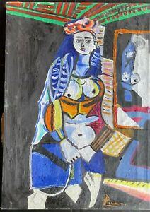PABLO PICAsSO - oil on original canvas from 1950's - Les femmes d'Alger