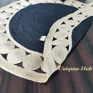 Rug 100% Natural Jute Reversible Braided Style Round Rug Modern Area Carpet Rugs