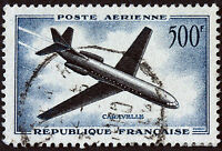 FRANCE STAMP TIMBRE AERIEN Yt 36  CARAVELLE 500F 1957  44M56