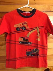 NWT Hanna Andersson Construction Vehicles Trucks Shirt Boys Orange Top Sz 140 10