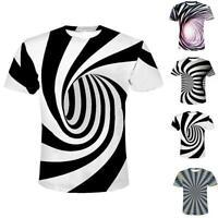 3D Optical illusion T-Shirt Hypnosis Swirl Men Women Funny Short Sleeve Tee Tops