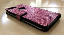Pink Rose Made with Swarovski Crystals Bling Glitter Card Wallet Case iPhone X