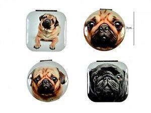CUTE PUG DOG Pug Mirror images Handbag Make Up Mirror Double sided snap clasp