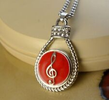 MUSIC NOTE Red Snap drop pendant silver necklace gifts for women jewelry