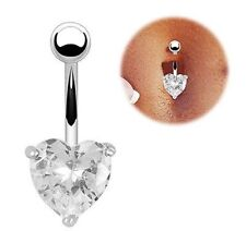 10mm Clear CZ Crystal Heart Navel Bar Belly Button 316L Surgical Steel-UK SELLER