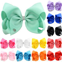 JOJO SiLarge 8 Inch Baby Girls Hair Bow Hair Pins Alligator Clip Hairpin Bowknot