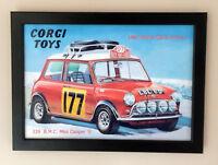 Corgi Toys 339 Mini Cooper Monte Carlo Rally Framed Poster Sign A4 Size 1967