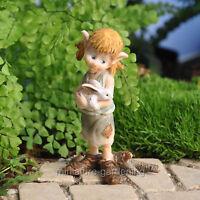 Garden Pixie Hugging Bunny for Miniature Garden, Fairy Garden