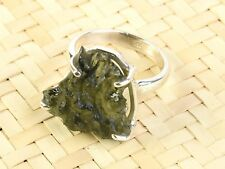 MOLDAVITE NATURAL STONE RING SILVER.925 - 4.9grams - US  6 3/4 = RING998