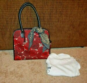 Brighton Celebrates Vera Neumann Red Mum Satchel Purse Scarf Dustbag EUC