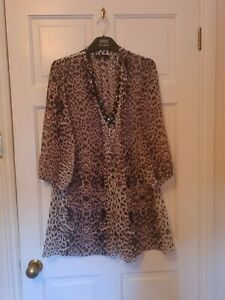 M&S  Collection Brown Mix Leopard Print Beaded Blouse Top Size 20