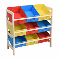 Toy Storage Organizer Wood Frame Shelf with 9 Removable Bins for Fun Time Room