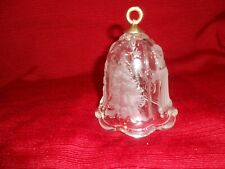 Clear Glass Bell with Frosted Santa w / Cane, Sleigh, Christmas Trees & Stars