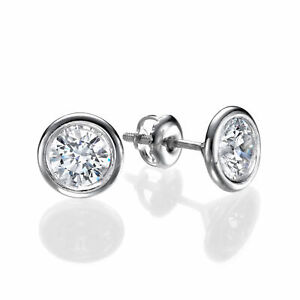 2/3 Carat Solitaire Diamond Stud Earrings Round Cut H/SI2 14K White Gold