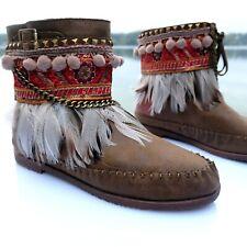 Damen Mokassins Stiefel Stiefeletten Nieten Kette Federn Ibiza Indianer Boho Neu