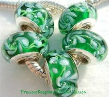 """*ONE~""""White Vines with Pearl"""" Murano Glass Bead Sterling Silver non thread core"""