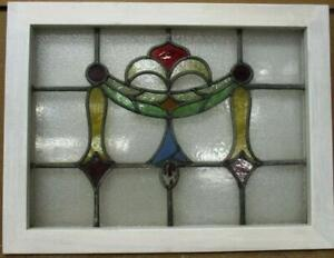 "MIDSIZE OLD ENGLISH LEADED STAINED GLASS WINDOW Very Pretty Swag 24.25"" x 18.25"""