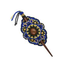 Beaded Barrette with Wooden Stick - Hair Pin- Blue- Gold- colour Hairclip
