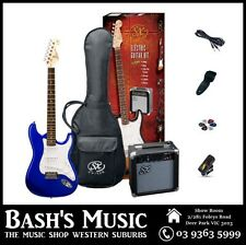 SX Electric Guitar Starter Package with Amp + Tuner + Bag Blue