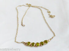 """Sterling Silver 925 Green Peridot necklace 17.5"""""""