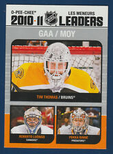 THOMAS LUONGO RINNE GOALS AGAINST AVERAGE LEADERS 11-12 O-PEE-CHEE 2011-12 16006