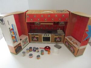 VINTAGE Fuchs Western Germany Tin Litho doll Kitchen Playset With Accessories