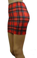 "Tartan Mini Skirt Red Royal Stewart 12"" Bodycon Check Punk Party Clubwear S152"