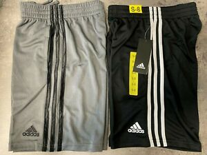 NEW adidas Boys' Youth S,M,L,XL Shorts 2 Pack - BLACK, GRAY Striped w/Pockets