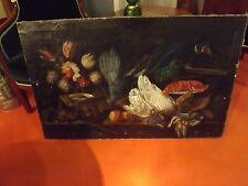 quadro antico natura morta olio su tavola da restaurare grande misura originale