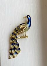 Tail Blue And White 3� Unsigned Vintage Gold Tone Peacock Brooch Pin Long
