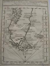 CARTE REDUITE DE LA PARTIE LA PLUS MERIDIONALE DE L'AMERIQUE , CHILI ,1753,