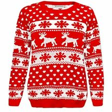 95787ec73018f Ladies Womens Mens Unisex Xmas Jumper Novelty Vintage Retro Knitted Sweater  S Snowflake Red