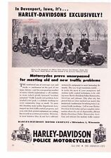 "1948 Vintage Harley Davidson Police Motorcycles ""Davenport, Iowa Print Ad"
