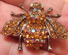 TOPAZ & AURORA BOREALIS RHINESTONES GOLD BUMBLEBEE HONEY QUEEN BEE BROOCH PIN