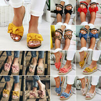 Women Bow Flatform Sandals Peep Toe Espadrille Ladies Flat Slip On Sliders Shoes