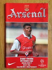 Arsenal V FIORENTINA 1999/2000 CHAMPIONS LEAGUE programma