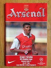 Arsenale V FIORENTINA 1999/2000 CHAMPIONS LEAGUE PROGRAMME