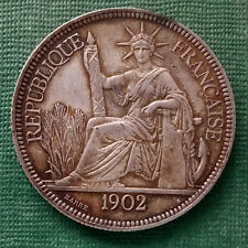 PIASTRA 1902 francese Indocina Argento TRADE DOLLAR Genuine Originale