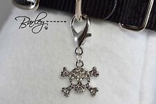 Rhinestone Skull Dog Cat Pet Tag Collar Charm - Crystal