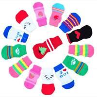 4Pcs/set Cute Pet Puppy Dogs Anti Slip Knitted Socks Skid Bottom Winter Warm n