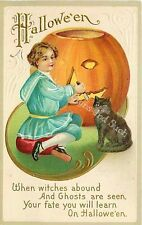 Vintage Halloween Fabric Block When Witches Abound Boy Cat Pumpkin JOL