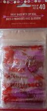 Valentine's Day ~ 40 Heart Zip Seal Party Treat Goody Plastic Bags ~ SWEET