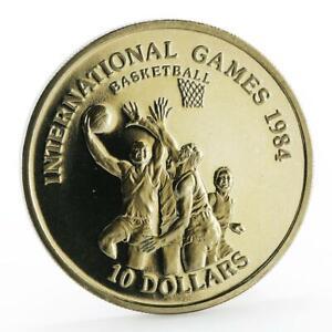 Liberia 10 dollars International Games Basketball proof nickel coin 1984