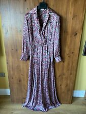 MANGO PREMIUM MAXI SHIRT SHIFT DRESS Pink Floral Satin M / UK 10 / 38 - BNWOT