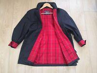 Classic Burberry Ladies Dark Navy Showerproof Coat UK Size 14